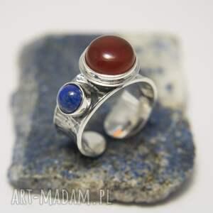 pierścionek z karneolem i lapis lazuli, damski