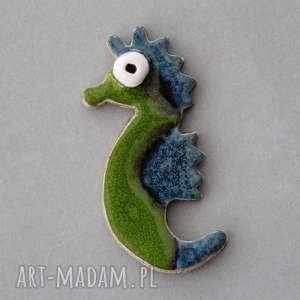 morski dzikus- broszka ceramika - design, prezent, urodziny, upominek, swetr, kobieta