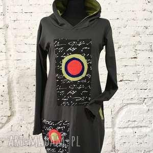 Alfabet kolorów-bluzo-sukienka, bluza, maxi, kaptur, kieszenie, sukeinka, bawełniana