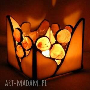 witrazka świecznik beżowy z karneolem, witrażowy, kamieni