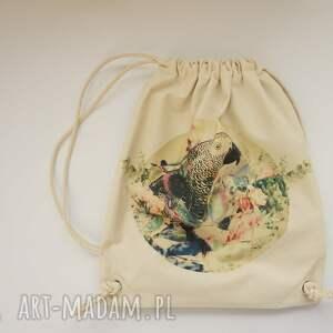 mr papuga plecak worek torba - płócienna, eco, bawełna, ptak, wakacje, nadruk