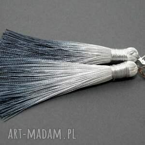kolczyki z chwostami, sznurek, eleganckie, wiszące, stalowe, grafitowe, chwost