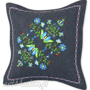 poduszka filcowa - kwiaty po003, poduszka, folk, kaszubski, haft, filc, dom