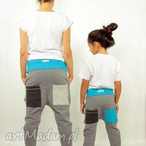 spodnie mama i dziecko szarave- baggy pants - dresowe, wygodne, kieszenie, szkoła