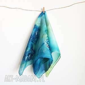 jedwabna malowana apaszka - rośliny, niebieska apaszka, chusta