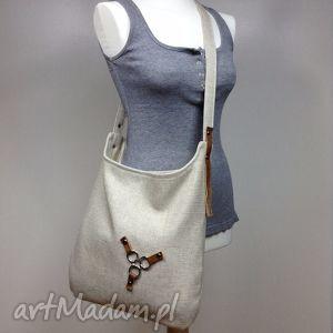 torba na ramię listonoszka, torba, torebka, sak, len, beż