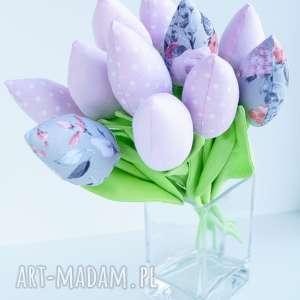 kuferek-malucha tulipany bawełniane dekoracja 10 szt bukiet, kwiaty