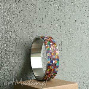 unikalny, kolorowa bransoleta ze stali, bransoletki, kolorowe, tęczowe, geometryczne