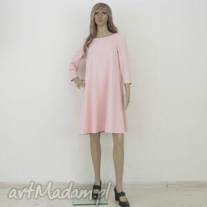 7 - sukienka jasno różowa, sukienka, rozkloszowana, trapez, mini, elegancka