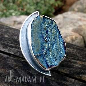 aelin srebrny pierścień z tytanową różą chalcedonu - szare