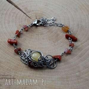 ręcznie wykonane bransoletka karneol i opal, wire wrapping, stal chirurgiczna