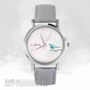 handmade zegarki zegarek - turkusowy ptaszek szary, skórzany