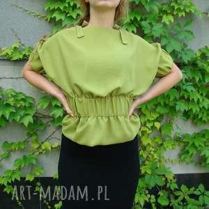 bluzka szyfonowa zielona z wiązaniami, bluzka, elegancka, wiązana, guma, szyfon