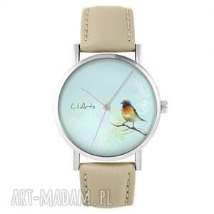 zegarki zegarek - kolorowy ptak skórzany, beżowy, zegarek, pasek