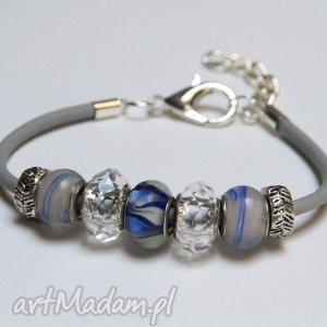 bransoletki niebiesko-szara bransoletka z linki kauczukowej koralikami ze szkła