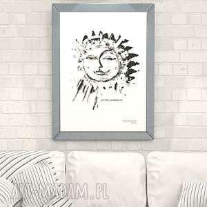 21x30 Biało Czarna Grafika Księżyc I Słońceładny Plakat Do Sypialni Biało Czarny Plakat Słońce Ecru