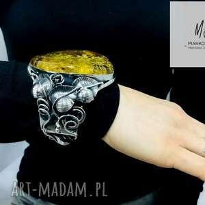 bransoleta srebrna z bursztynem bałtyckim unikat rękodzieło