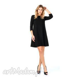 Czarna brokatowa sukienka z rękawem 3/4., lalu, sukienka, rozkloszowana, brokat