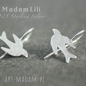925 srebrne kolczyki ptaki - kolczyki, srebro, ptaki, natura, prezent, elegancja