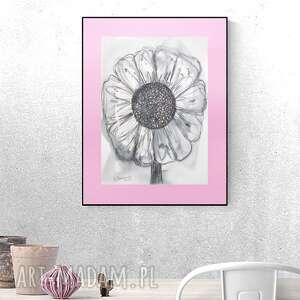 oryginalny rysunek, nowoczesna dekoracja na ścianę, szkic z kwiatkiem, grafika