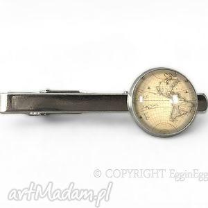 stara mapa - spinka do krawata - świata, vintage