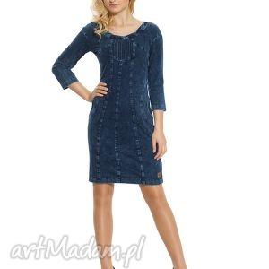 sukienka do pracy jeansowa z fantazyjnym dekoltem rozmiar 36 - wygodna, jeansowa