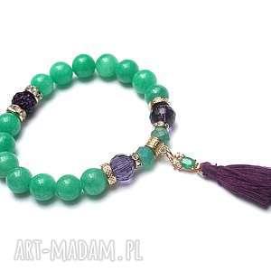 Chwościk mint and violet /17.12.18/, jadeit, chwost, cyrkonia, swarovski,