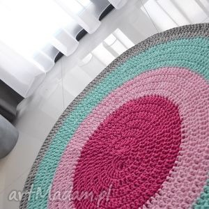 dywan bawełniany cztery kolory 100cm , dywan, chodnik, bawełniany, różowy, pufa