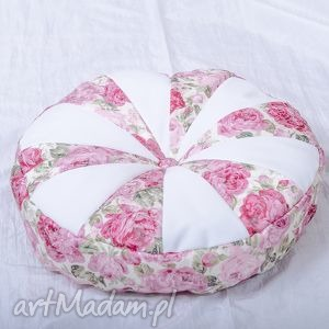 okrągła poduszka w róże, poduszka, okrągła, dekoracyjna, wygodna dom
