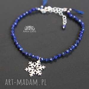 Śnieżynka i lapis lazuli, lapislazuli, bransoletka, śnieżynka, gwiazdka, srebrna