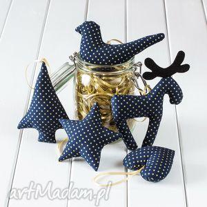pomysł na upominek święta OZDOBY CHOINKOWE granatowe w złote kropki, dekoracja