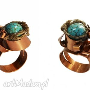 pierścionki oryginalny pierścionek z brązu turkusem i lnem, len, turkus, brąz