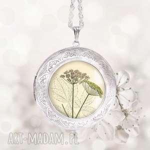 plant niespotykany naszyjnik na prezent- medalion sekretnik - duży, wytworny