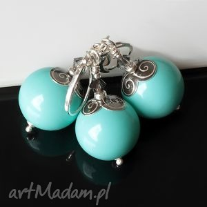 Turkusowe perły akadi 1 sea shell, srebro, elegancki, kobiecy