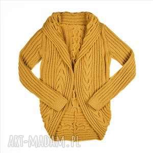 kardigan musztardowy merynos damski, sweter