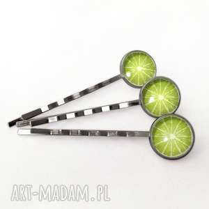 limonka - 3 wsuwki do włosów, owocowe