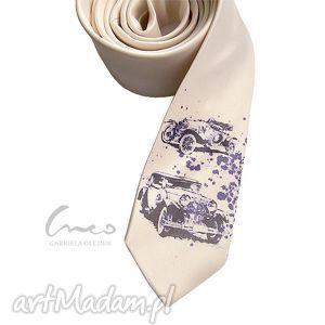 Krawat z nadrukiem - Retro (ecru), krawat, nadruk, śledź, samochody