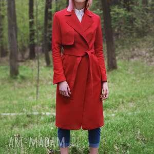 czerwony - wiosenny, trench, bawełna, wiązany
