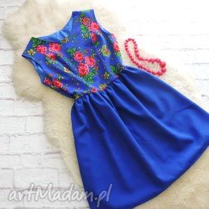 sukienka góralska folk szafirowy motyw ludowy, sukienka, góralska, krakowska
