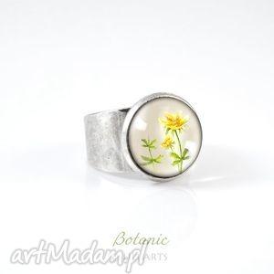 pierścionek - wiesiołek kolor srebrny, pierścionek, kwiat, kwiaty, botaniczny