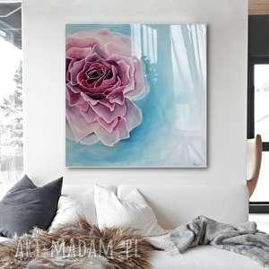 Róża w błękitach - Obraz do salonu Canvas ręcznie malowany, obraz-nowoczesny