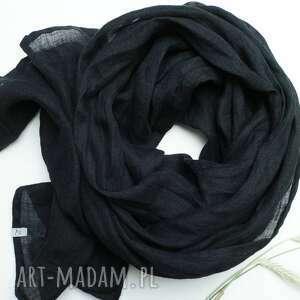 hand-made szaliki lniany szal chusta w kolorze czarnym, uniwersalny duży damski