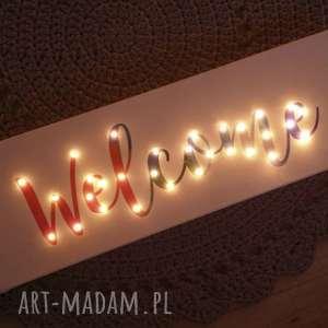 obrazy świecący obraz welcome witamy napis przedpokój dekoracja tęczowy