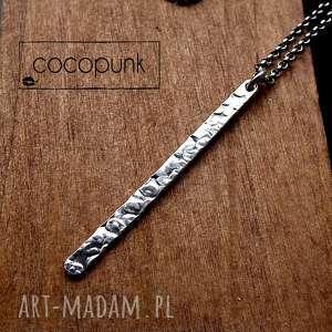 naszyjnik z soplekiem fakturowanym- srebro pr 925 - minimalistyczny, patyczek, srebrny