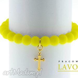 Yellow neon & cross pendant. - ,neon,zawieszka,