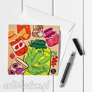 myk studio autorska kartka pocztowa słoiki, pocztówka, kartka, ilustracja, grafika