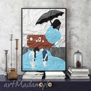 różne odcienie deszczu art print a4, grafika, ilustracja, obraz, nostalgicny, dzieci