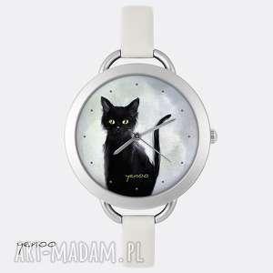 Prezent Zegarek, bransoletka - Czarny kot - szary, skórzany