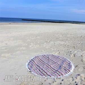 handmade dla dziecka dwustronna mata koc dywanik fik 150 cm czerwony aztecki