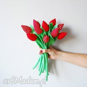 bukiet bawełnianych tulipanów, tulipany, kwiaty, kwiatki, tulipany z materiału